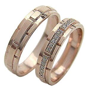 結婚指輪 ゴールド バンドデザイン ダイヤモンド ペアリング ピンクゴールドK18 ベルト マリッジリング 18金 2本セット ペア 文字入れ 刻印 可能 婚約 結婚式 ブライダル ウエディング ギフト