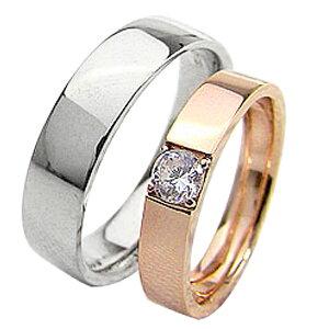 結婚指輪 ゴールド 一粒ダイヤモンドリング 0.2ct 平打ち ペアリング ピンクゴールドK18 ホワイトゴールドK18 マリッジリング 18金 2本セット ペア 文字入れ 刻印 可能 婚約 結婚式 ブライダル