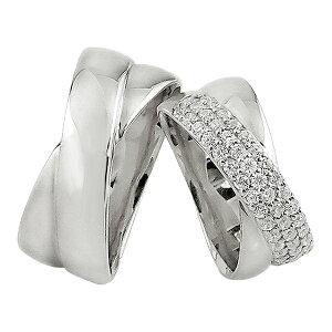 結婚指輪 プラチナ ペアリング プラチナ 2本セット パヴェ ダイヤモンド クロス 交差 Pt900 マリッジリング 2本セット ペア 文字入れ 刻印 可能 婚約 結婚式 ブライダル ウエディング おすすめ