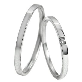 結婚指輪 ペアリング プラチナ ストレート 一粒ダイヤモンド 平打ち1.5mm幅 マリッジリング Pt900 マリッジリング 2本セット ペア 文字入れ 刻印 可能 婚約 結婚式 ブライダル ウエディング バレンタインデー プレゼント
