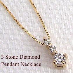 ネックレス レディース ダイヤモンドネックレス スリーストーン ダイヤペンダント イエローゴールドK10 トリロジー 10金 クリスマスプレゼント 誕生日 贈り物 ホワイトデー プレゼント ギフト