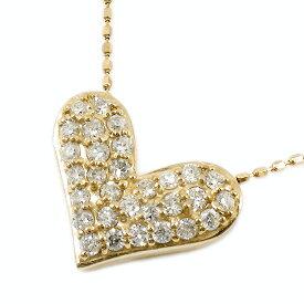 ネックレス レディース ハート パヴェ ダイヤモンドネックレス 18金 イエローゴールドK18 ペンダント 天然 ダイヤモンド 0.30ct ゴールド 18金 チェーン ホワイトデー プレゼント