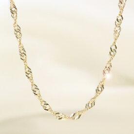 中空 スクリュー チェーン ネックレス 18金 イエロー ゴールド 地金 chain necklace