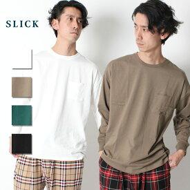 SLICK スリック Dropped Shoulders T-Shirt ロンT ロングスリーブ ドロップショルダー Tシャツ [Lot/5155431] メンズ オーバーサイズ トレンド ビッグシルエット ポケT ポケット ホワイト ベージュ グリーン ブラック