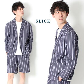 【 送料無料 】 SLICK スリック ストライプ テーラードジャケット 80/2 Striped Tailored Jacket [Lot/5169407] メンズ セットアップ 上下 きれいめ 大人 カジュアル オトナカジュアル ジャケット メンズファッジ ファッジ系