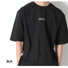 RVCAルーカスウェットTシャツSMALLRVCASWEATTEE[Lot/AJ041-003]ビックシルエット半袖オーバーサイズカットオフサイドテープロゴトップスメンズ2019令和新作ラクラフセットアップサーフアメカジプレゼントお揃いリンクコーデ