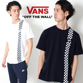 VANS ヴァンズ Tシャツ オフザウォール バンズ チェッカーフラッグ CHECKER LINE T-SHIRT [Lot/CD19SS-MT07] メンズ レディース ユニセックス ホワイト ネイビー ストリート Tシャツ