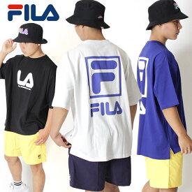 FILA HERITAGE フィラ ヘリテージ オーバーサイズ バックプリント ビッグシルエット Tシャツ [Lot/FM9553] メンズ トップス ホワイト ビッグシルエット ブルー ブラック スクエアロゴ ブランドロゴ