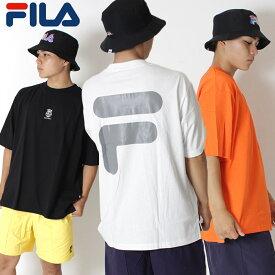 FILA HERITAGE フィラ ヘリテージ オーバーサイズ バックプリント ビッグシルエット Tシャツ [Lot/FM9562] トップス ホワイト ビッグサイズ 大きめ ルーズ バスケ ストリート オレンジ ブラック