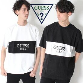 【国内正規取扱店】 GUESS GREEN LABEL LOGO TEE ゲス グリーンレーベル 2TONE モノトーン Tシャツ [Lot/GRSS19-001] メンズ ストリート ブラック ホワイト オーバーサイズ ビッグシルエット カジュアル
