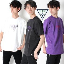 GUESS GREEN LABEL TRIANGLE LOGO TEE ゲス グリーンレーベル トライアングル USA 刺繍ロゴ Tシャツ [Lot/GRSS19-025] メンズ ストリート ブラック ホワイト パープル カラバリ トレンドカラー オーバーサイズ ビッグシルエット カジュアル