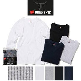 Hanes ヘインズ BEEFY-T ビーフィー サーマル ロンT パックTシャツ [Lot/HM4-Q103] パックT メンズ レディース ユニセックス 丈夫 長袖Tシャツ
