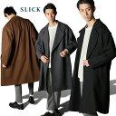 【 送料無料 】 【men's FUDGE掲載】 SLICK スリック カルゼ メルトン オーバーサイズ コート Oversized Coat [Lot/5165420] オーバーコート メンズ トレ
