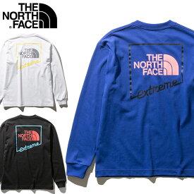 THE NORTH FACE ノースフェイス ロングスリーブ L/S Extreme Tee Tシャツ [Lot/NT32032] エクストリーム ティーシャツ ロンT メンズ タフ 頑丈 ヘビーオンス コットン ストリート カジュアル バックプリント ホワイト ブラック ブルー