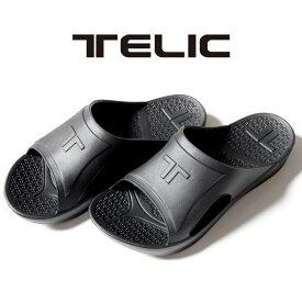 【正規取扱店】TELIC SLIDE BLACK テリック スライド ブラック サンダル 夏 ユニセックス プール 海 室内履き リカバリーシューズ シンプル ルームシューズ 出張 旅行 機内 ビーチサンダル 歩行をサポート メンズ レディース 人気 ロゴ