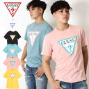GUESS Guess ゲス カラーリング 半袖 Tシャツ TRIANGLE LOGO CREW TEE [Lot/MJ2K9415K] メンズ シンプル ラフ トップス 黒 白 ストリー…
