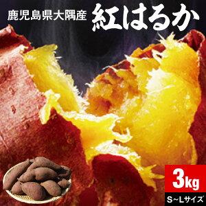 さつまいも 紅はるか 鹿児島 生芋 3kg 1箱 送料無料 サイズ混載 土付き 美味しい 鹿児島県 大隅産 美容 ギフト べにはるか サツマイモ 焼き芋に