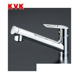 [KM6001EC]KVK キッチン水栓 浄水器内蔵シングルレバー式シャワー付混合栓 セラミックシングル ワンホールタイプ 逆止弁付 eレバー 【送料無料】 おしゃれ