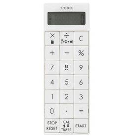 【メール便対応】ドリテック 電卓付バイブタイマー ホワイト 【品番:CL-124WT】