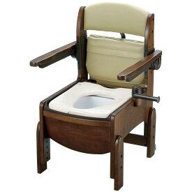 リッチェル 木製トイレ きらく コンパクト 肘掛跳ね上げ(跳ね上げ式肘掛けタイプ) 普通便座 【品番:18550】
