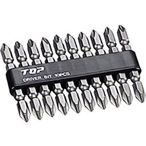 トップ工業 電動ドリル用 ドライバビット10本組セット(硬さH)(マグネット付) 【品番:DB2-6510】
