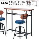 【送料無料】タムテーブル+タムチェア同色2脚セット (バーテーブル カウンターチェア ラウンドチェア カウンターチェ…
