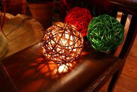 アジアンランプ インテリア テーブルランプ おしゃれ 卓上照明リビング照明器具 間接照明 アジアン雑貨 バリ雑貨 アジアン家具 バリ島 ボールランプ ミックスブラウン