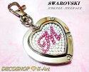 ◆スワロフスキーデコバッグハンガー【ハートイニシャル】ピンク&ホワイトオーダー名入れギフト