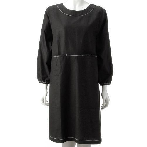 【ネコポス便可能】ジョワイユ 綿麻ステッチ かぶりかっぽう着 LLサイズ和装割烹着  和装黒かっぽう着