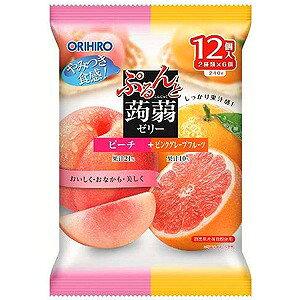 オリヒロ ぷるんと蒟蒻ゼリー パウチ ピーチ+ピンクグレープフルーツ 20g×12個