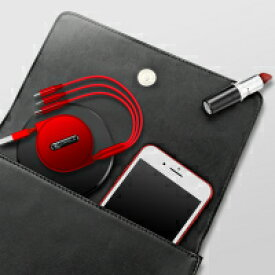 【送料無料】USBケーブル 3in1 巻取り式 急速充電 Cafele 1.2m