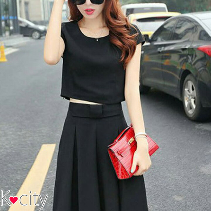 セットアップ レディース 上下 セット 2枚セット 半袖 ガウチョ ワイドパンツ パンツ 韓国 ファッション