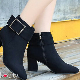 a39042bbfcf ショートブーツ レディース ブーツ ショート チャンキーヒール 太ヒール 黒 韓国 ファッション