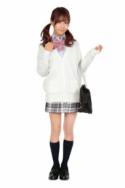 【TeensEver】カーディガン(ホワイト)Mサイズ[女子高生カーディガンベストコスプレ制服ティーンズエバー]【A-1363_837893】
