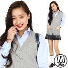 【制服ベスト】TeensEver前開きベスト(杢グレー)M[女子高生カーディガンベストコスプレ制服]【A-1444_864356】
