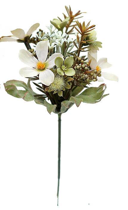ミニフラワーピック BEIGE(造花 花材 アートフラワー)
