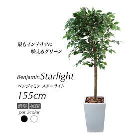 人工観葉植物 フェイクグリーン 観葉植物 造花 光触媒 大型 ベンジャミン フィカス 鉢植 スターライト 155cm L鉢 フェイク グリーン インテリア おしゃれ CT触媒 お祝い