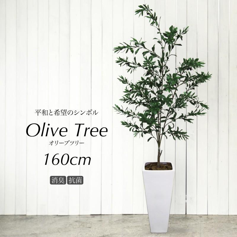 フェイクグリーン オリーブの木 160cm 陶器鉢付(オリーヴ) 人工観葉植物 大型 光触媒 CT触媒 観葉植物 造花 インテリア フェイク グリーン お祝い 開店祝い