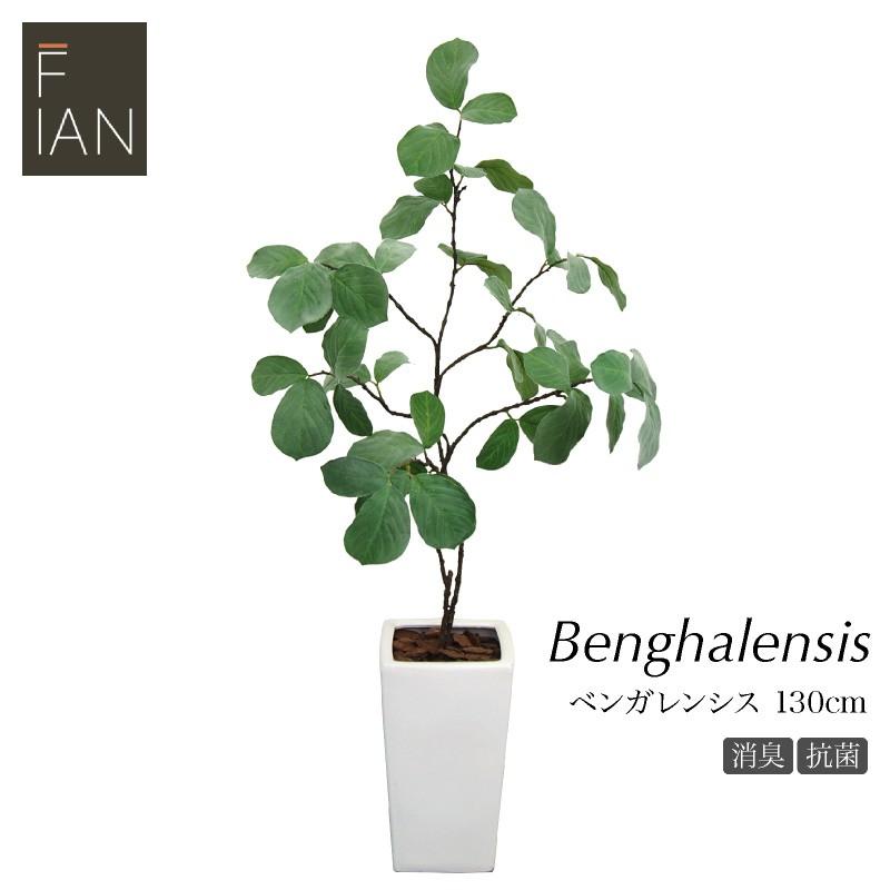 フェイクグリーン FIAN ベンガレンシスツリー 130cm 陶器鉢付人工観葉植物 大型 光触媒 CT触媒 観葉植物 造花 インテリア フェイク グリーン お祝い 開店祝い