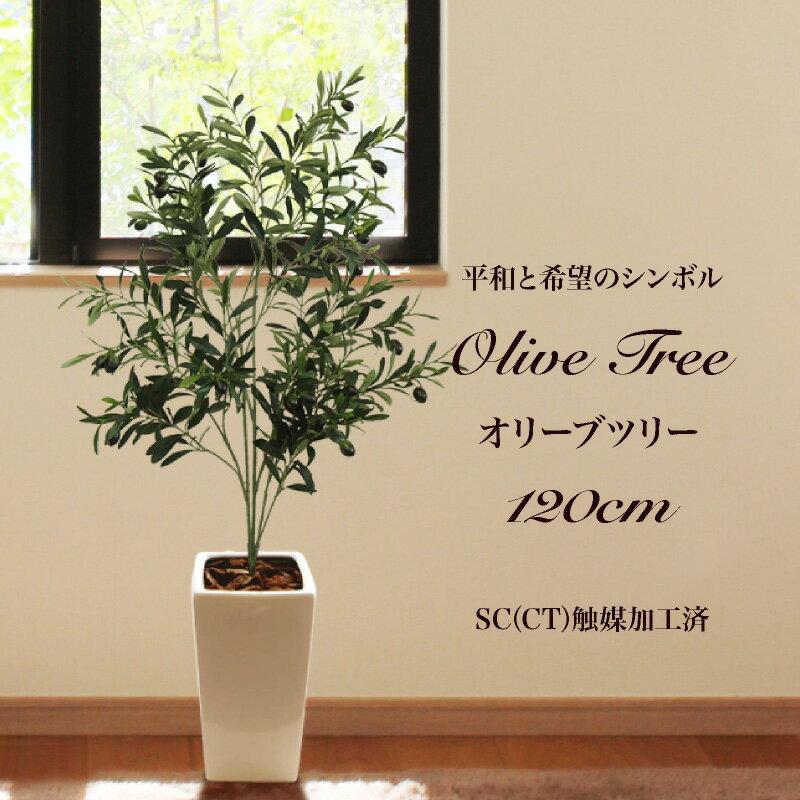 フェイクグリーン オリーブの木 120cm 陶器鉢付(オリーヴ) 人工観葉植物 大型 光触媒 CT触媒 観葉植物 造花 インテリア フェイク グリーン お祝い 開店祝い