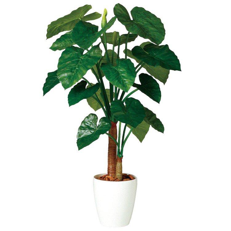 【人工観葉植物】 クワズイモ ダブル 130cm 【フェイクグリーン 大型 観葉植物 造花 光触媒 CT触媒 インテリア】