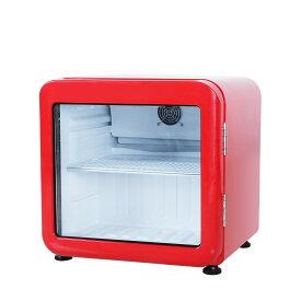 【アウトレット】レトロ冷蔵ショーケース46L ガラス扉 レッド【HJR-RK50RD】 LED庫内灯付き 送料無料 小型冷蔵ショーケース