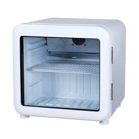 レトロ冷蔵ショーケース46L ガラス扉 ホワイト【HJR-RK50WT】 LED庫内灯付き 送料無料 小型冷蔵ショーケース