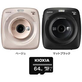 チェキ 本体 セット カメラ instax チェキスクエア FUJIFILM 富士フイルム 64GB 送料無料 インスタント ポラロイド おしゃれ シンプル フラッシュ SDカードマイクロSDカード付き ベージュ マットブラック SQUARE SQ20【D】