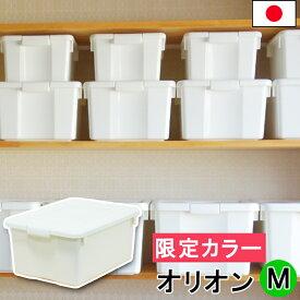 JEJ 限定カラー オリオン M 日本製 収納ボックス フタ付き シンプル 白 ホワイト おしゃれ オシャレ 小物 中が透けない