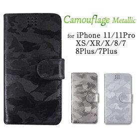 【取り寄せ・代引き不可】手帳型スマホケース カモフラージュ メタリック 本革 iPhone11/11Pro/XS/XR/X/8/7/8Plus/7Plus対応