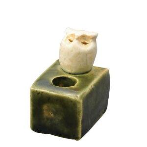 陶器 手造り ペン立て 歯ブラシ立て/ ミニスタンド(フクロウ) /置物 インテリア プレゼント 贈り物