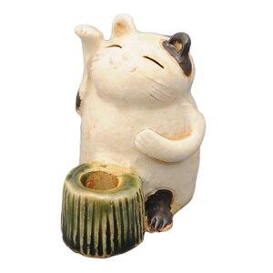 陶器 手造り ペン立て 歯ブラシ立て/ 招き猫 スタンド(小) /置物 インテリア プレゼント 贈り物