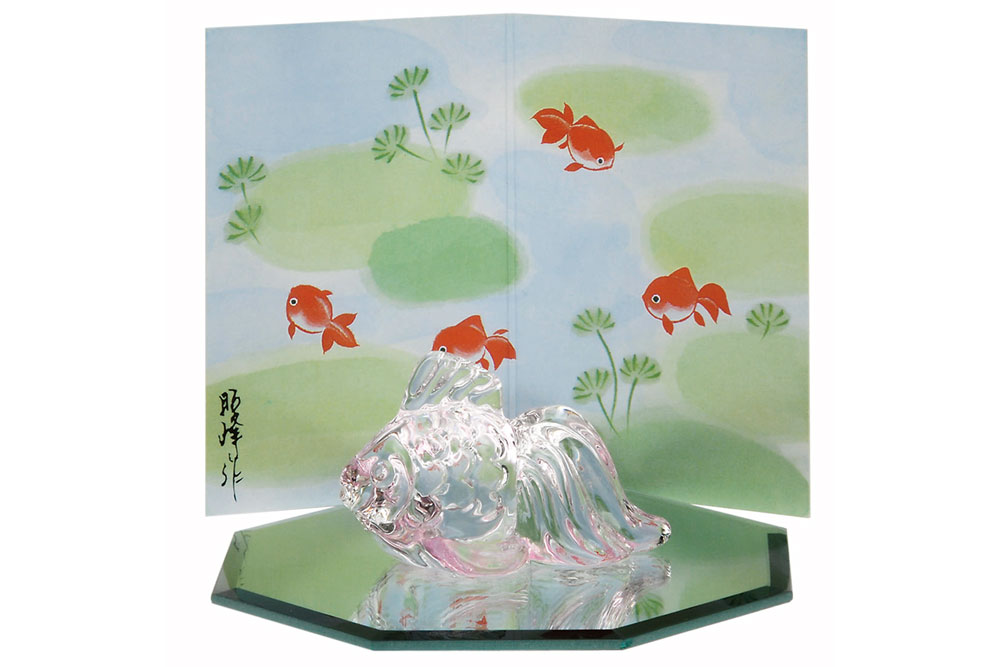 鏡瑠璃金魚(八角鏡台付)