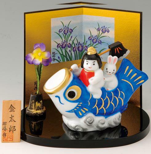 五月人形 コンパクト 金太郎出世鯉(白磁)